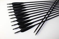 12PK Aluminum Arrows Hunting Black Turkey Feather Arrows Recurve Compound bow