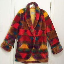 VINTAGE Plush SOUTHWESTERN Tribal INDIAN Blanket Southwest Lined FAKE FUR Coat M