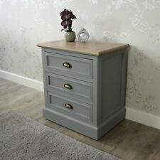 Grey wood 3 drawer bedside chest storage shabby vintage chic bedroom furniture