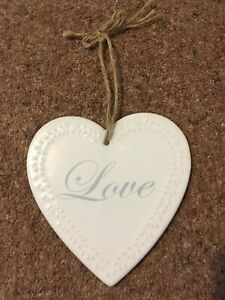Heart shaped hanging ceramic 'Love' decoration - cream - approx. height 15 cm