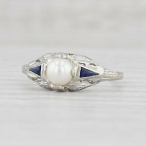 Art Deco Cultured Pearl Synthetic Sapphire Ring 18k White Gold Size 7.75