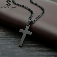 Black Cross Necklace Stainless Steel Cross Pendant Link Chain Jewelry Necklaces
