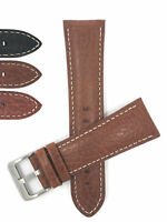 Bandini Mens Italian Leather Watch Band Strap, Padded Stitch 18mm 19mm 20mm 24mm