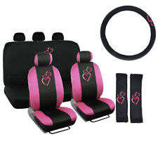 New Hot Pink Hearts Front & Back Car Seat Cover Steering Wheel Cover Full Set