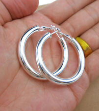 925 Sterling Silver Plated Women Fashion Hoop Dangle Earring Studs Jewelry EHF06