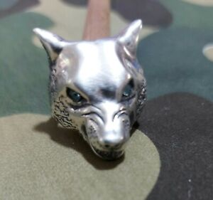 Silver ring vintage Biker Lone Wolf