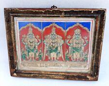 Antique Old Rare South Indian Hindu God Vishnu Holy Worship Miniature Painting