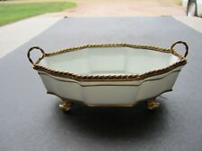 Old Elegant Limoges White With Gold 4 Footed Porcelain Bowl With Removable Top