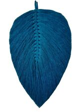 Macrame feather leaf wall hanging cotton cord home decor gift,lake blue,26×14cm.