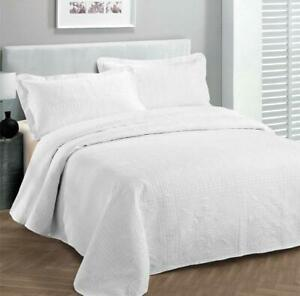 Fancy Collection 3pc Luxury Bedspread Coverlet Embossed Bed Cover Solid White Ne