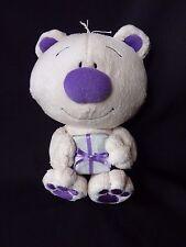 "Mowbray 8"" Bear Stuffed Animal Plush Tan Purple Lovey Holding Gift"