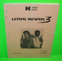 LETHAL WEAPON 3 Pinball Manual Original 1992 Arcade Game + Schematics DATA EAST