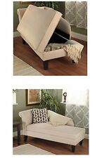 NEW Beige Upholstered Storage Chaise Bench Lounge Loveseat Sofa Couch Seat Chair
