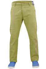 New Mens Kushiro City Slim Fit Twill Chino Straight Leg Trousers Cotton Pants