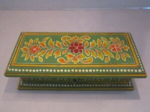 "vintage hand painted tole box. flowers hinged. 7""x3""x2"". Green & Yellow."