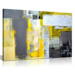 Grey And Yellow Painting On Canvas Abstract Wall Art Pictures Home Decor