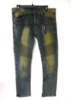 Rocawear Jeans Mens 32X32 Dirt Washed Skinny Stretch with Ribbed Moto Panels New