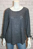 Blue Illusion Brand Navy Striped Linen Blouse Top Size 3L NEW #AN02