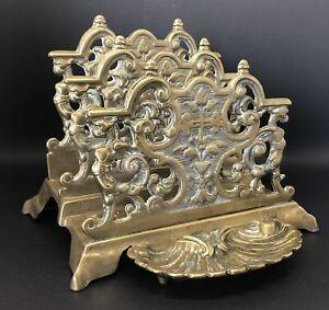 Antique Vintage Brass Letter/Stamp Rack, Ornate Baroque Style, Shell Details.