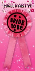 BRIDE TO BE Hen Night Party Rosette Badge Pink