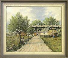 »SOMMER AUF DEM LAND · BAUERNHOF MIT HEUWAGEN UND BÄUERIN « ÖLGEMÄLDE 61 x 71