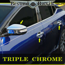 Fits 2016-2018 NISSAN MAXIMA Chrome Door Handle COVERS Bowl+Mirror Overlay Trim