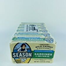 6 Cans Season Brand Sardines in Olive Oil Wild Caught Skinless 4.375 oz Each