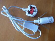 Salt Lamp White Lead UK Plug E14 switch White 1.5mt cord Selenite Crystal lamp