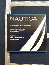 NEW NAUTICA OCEAN RIDGE NAVY BLUE WHITE STANDARD PILLOW SHAM