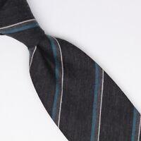 Gladson Mens Wool Silk Necktie Dark Gray Blue White Stripe Weave Woven Tie Italy