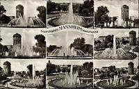 Mannheim s/w Mehrbild AK 1955 Wasserspiele am Friedrichsplatz mit Wasserturm