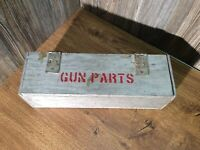 "Antique ""Gun Parts"" Wooden Hinged Box Primitive G2"