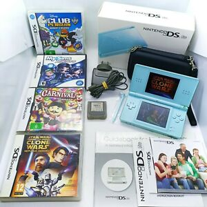 Nintendo DS Lite Light Blue With 5x Games, Carry Case, Original Box, Charger