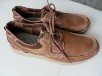 CLARKS Men's Size 11.5 (M) Brown Nubuck Leather Casual Lace-Ups Boat Shoes, NEW