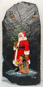 Santa with Tree & Sack of Toys by Sigrid Schmidt on Slate - 1986 Hand Painted