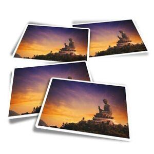 4x Rectangle Stickers - Tian Tan Buddha Hong Kong  #12189