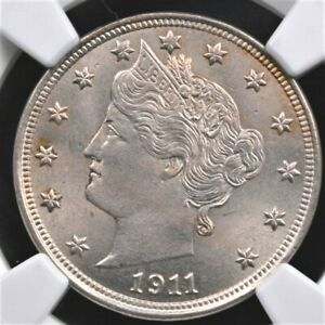 """1911 LIBERTY """"V"""" NICKEL NGC MS 64 SUPER BRIGHT AND CRISP SILVERY SURFACES WITH A"""