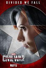 Captain America Civil War Movie Poster 24x36 Scarlett Johansson, Black Widow v11