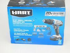 "Hart 20-Volt Cordless 3/8"" Drill/Driver Project Kit with 33pcs Hand Tools Set"