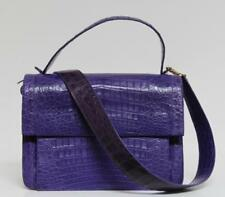 New Nancy Gonzalez $3850 Large Flap Structured Purple Crocodile Bag