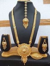 22K Gold Plated 11'' Long Indian Round Pendant Necklace Earrings Tikka Ring