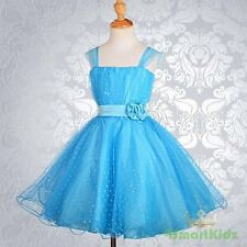Blue Wedding Flower Girl flowergirl Party Dress Size 6 FG031A