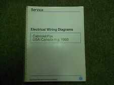 1993 VW Cabriolet Fox Electrical Wiring Diagram Shop Manual OEM BOOK 93 FACTORY