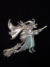 """JJ"" Jonette Jewelry Silver Pewter 'HALLOWEEN Witch on Broom' Pin"
