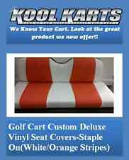 Yamaha Drive Golf Cart Custom Seat Covers-Front and Rear(White/Orange Stripes)