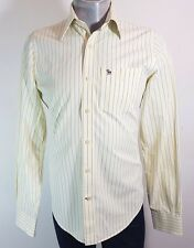 Abercrombie and Fitch Amarillo Rayado Informal Camisa Medio
