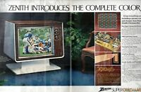 1972 2 PAGE ORIGINAL VINTAGE ZENITH CHROMACOLOR TELEVISION MAGAZINE AD