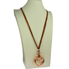 Rose gold chunky twisted loop pendant brown suede jewellery long necklace