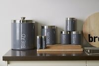TEA COFFEE SUGAR BREAD BISCUIT PASTA STORAGE CANISTERS - GREY