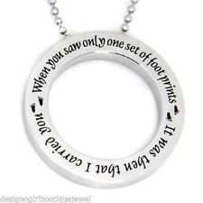 """Footprints in the Sand Necklace Circle Disc Stainless Steel Round 24"""" Silver"""